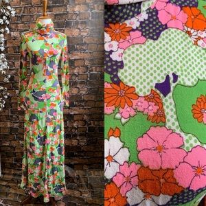 Vintage 60s Psychedelic High Neck Maxi Dress